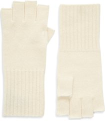 women's halogen cashmere fingerless gloves, size one size - ivory