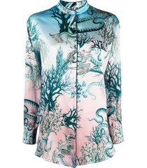 f.r.s for restless sleepers underwater print silk shirt - blue