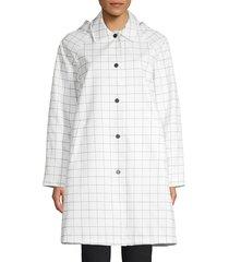 jane post women's mid-length slicker jacket - red white - size l