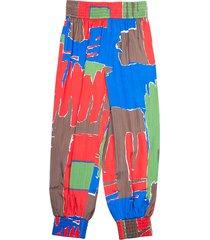 zijden broek met vierkante print
