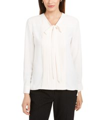 anne klein pleated tie-neck button-up top