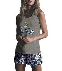 pyjama's / nachthemden admas pajamas tank top korte lois jungle khaki