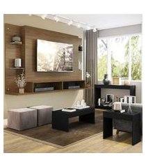 """painel para tv 60"""" com aparador, mesa de centro e mesa lateral nairóbi multimóveis duna/preto"""