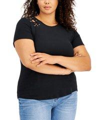 derek heart trendy plus size lace-up shoulder t-shirt