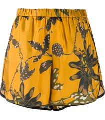 dorothee schumacher elasticated floral print silk shorts - yellow