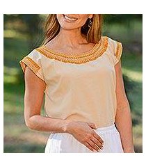 cotton blouse, 'taupe woman' (mexico)