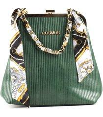 bolso femenino tipo cartera verde con cadena y pañoleta cosmos