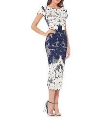 boatneck embroidered midi dress