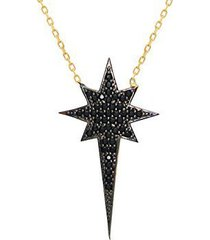 fronay co .925 sterling silver sparkling black starburst north star pendant neck