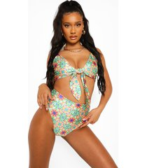 tegelprint bikini top met strik, green
