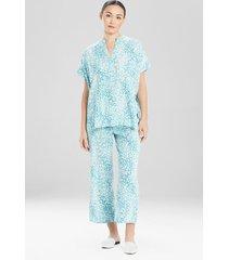 misty leopard challis pajamas / sleepwear / loungewear, women's, blue, size l, n natori