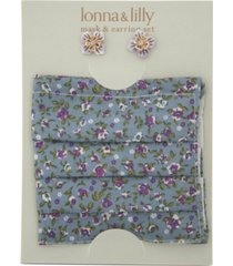 lonna & lilly 2-pc. set gold-tone crystalflower stud earrings & coordinating face mask