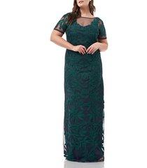 plus size women's js collections illusion soutache column gown, size 22w - green