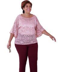 blusa vickttoria vick renda tchesca ros㪠plus size - rosa - feminino - dafiti