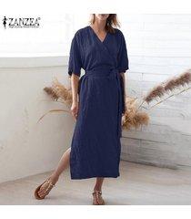 zanzea camisa de manga corta con cuello en v para mujer vestido largo túnicas vestido a media pierna tallas grandes -azul marino