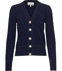 cashmere knit gebreide trui cardigan blauw ganni