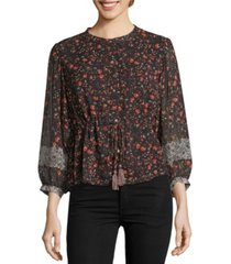 john paul richard cinched waist printed blouse
