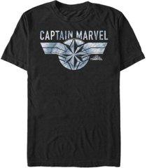 marvel men's captain marvel blue tie dye logo short sleeve t-shirt