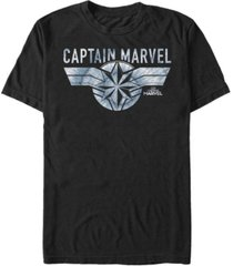 marvel men's captain marvel blue tie dye logo short sleeve t-shirt