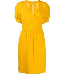 a.n.g.e.l.o. vintage cult 1980s pleated v-neck dress - yellow