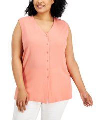 alfani plus size sleeveless button-up top, created for macy's