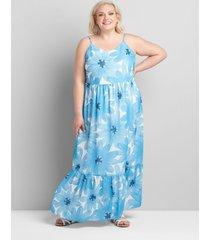 lane bryant women's sleeveless cami tiered maxi dress 14/16 blue daisy