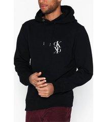 calvin klein jeans back mirrored monogram hoodie tröjor svart