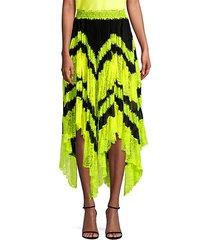 katz sunburst asymmetric lace midi skirt