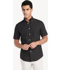 tommy hilfiger men's classic fit essential short-sleeve solid shirt black - xxxl