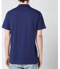 balmain men's bi colour flock polo shirt - blue - l