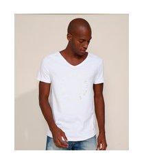 "camiseta masculina slim rules"" metalizada manga curta gola v branca"""