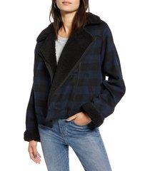 women's treasure & bond plaid moto jacket, size medium - black