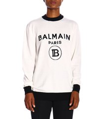 balmain sweater crewneck sweater with maxi balmain paris jacquard logo