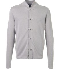 shanghai tang toggle button front cardigan - grey