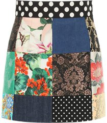 dolce & gabbana patchwork mini skirt