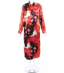 marni 2019 pixel print satin shirt dress red/pink sz: m