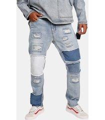 designer alla moda blu lavato patchwork hip-hop jeans per uomo