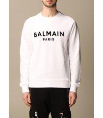 balmain sweatshirt balmain crewneck sweatshirt in cotton with flocked logo