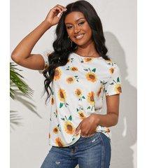 camiseta de manga corta con estampado de girasol blanco al azar yoins cuello
