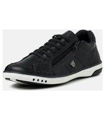 tênis casual masculino torani calce fácil com zíper sapatênis confortável couro preto