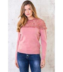 trui met kanten hals roze