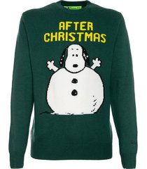 mc2 saint barth man green sweater snoopy after xmas print - peanuts special edition