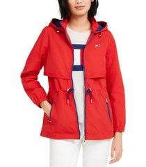 tommy hilfiger sport cinch-waist hooded jacket