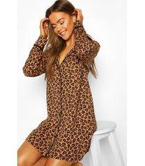jersey luipaardprint nachtjapon, bruin