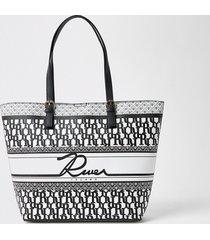 river island womens black 'river' printed shopper bag
