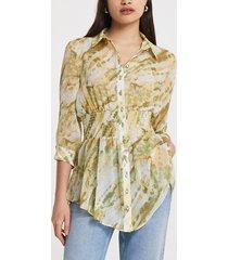 river island womens beige tie dye print shirred waist shirt