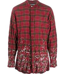 palm angels round logo checked shirt - red