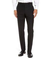 men's ted baker london jefferson flat front solid wool dress pants, size 38 - unhemmed - black