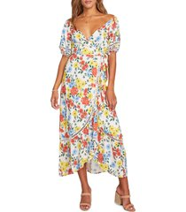 women's lost + wander center of attention floral wrap dress, size large - red