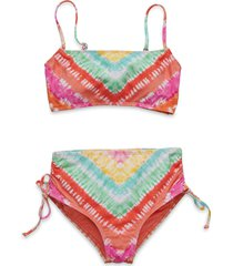 hobie kids' tie dye two-piece swimsuit, size 14 in coral at nordstrom